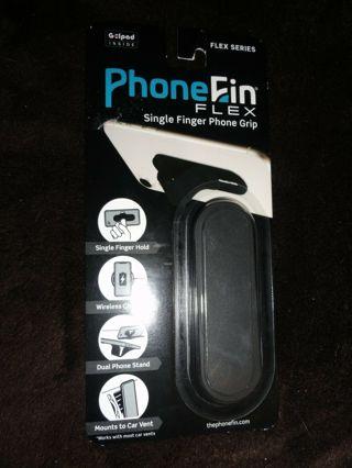 Phone Fin Flex Series Black Single Finger Phone Grip Stand Attachment PhoneFin Pop Holder