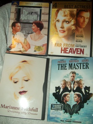 Lot of 4 Vintage Classics Dvd Movies-Master, Apartment,Far From Heaven,Marianne Faithful-Like New!
