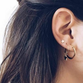 4 Pcs/set Women's Fashion Punk Star Pendant Circle Geometric Gold Stud Earrings Set Sexy Jewelry