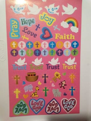 Large Sheet of Christian Stickers
