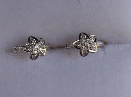 ELEGANT LARA's jewelry white gold & diamond CHILD hoop earrings - new in BOX - retail $1,500
