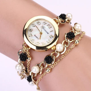 Women Geneva Faux Pearl Flower Chain Bracelet Wrist Analog Quartz Dial Watch