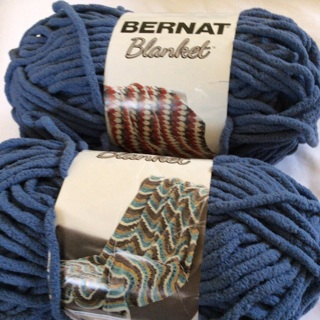 Two 5.3 oz  Polyester Country Blue BERNAT Blanket Yarns. Net Weight 0.6 oz. #2