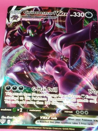 Grimmsnarl VMAX Textured Full Art Ultra Rare Darkness Ablaze 115/189 Pokemon Card Minty NM-MINT