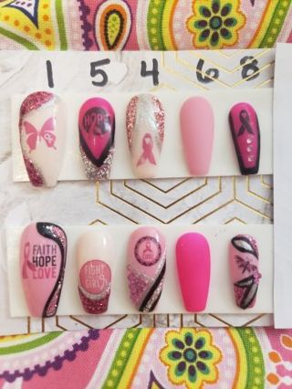 ♥️ Breast cancer awareness ❤️, hand painted press on nails, Medium coffin shape