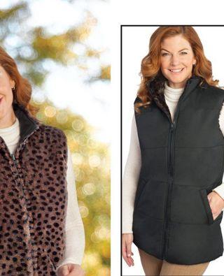 NEW size 1x,    Thick and Lush dark leopard , faux fur reversable dark leopard vest.