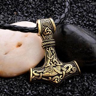 Myth THOR'S HAMMER Norse Magick Mjolnir Viking Pendant Leather Cord Necklace