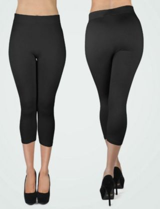 EXTRA PLUS BLACK CAPRI LEGGINGS BUTTERY SOFT SIZES 16-22 NWT FREE SHIPPING!