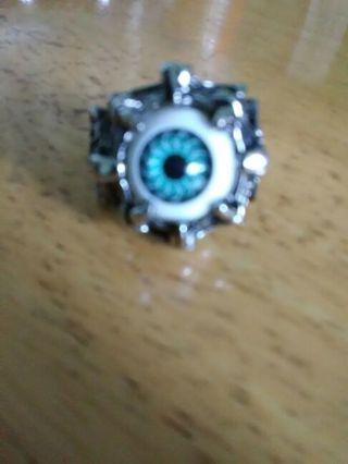 Men's blue eyeball ring