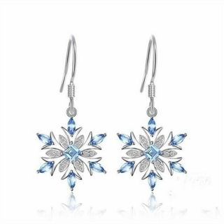 Elegant 925 Silver Aquamarine Snowflake Earrings Womens Christmas Jewelry Gifts