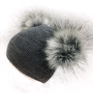 children's winter infant newborn baby kids faux fur wool hat cap beanie with 2 two double pom pom