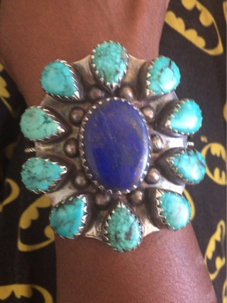 Heavy Solid Sterling Silver, Turquoise & Lapis Bracelet 99.4 Grams, 3x3 Face