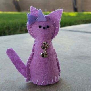 Purple cat with cat charm!