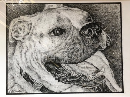 """Bull Dog - 5 x 7"""" Art Card by Nina - GIN ONLY"""