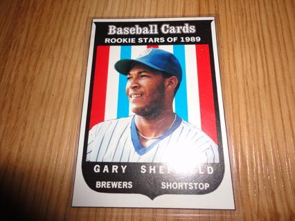 FREE Gary Sheffield RARE 1989 Baseball Card Magazine ROOKIE Milwaukee Brewers