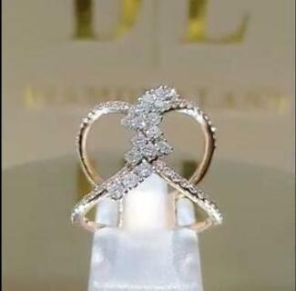 14k Rose Gold Micro-set White Sapphire Double-layer Cross Rings Women Party Gift