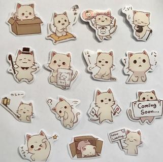 ☆※☆※☆NEW ITEM!!! ♥♥ADORABLE KAWAII WHITE KITTIES STICKER FLAKES 15PC♥♥