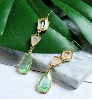 Sparkly long drop earrings faux stone resin New Free Ship