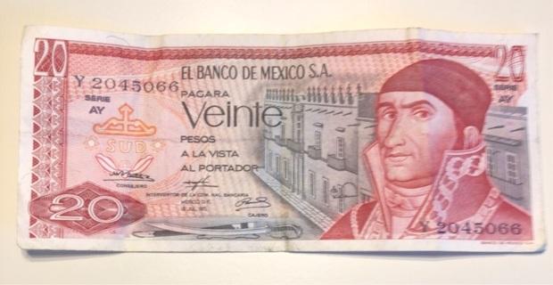 1973 Mexico 20 Peso note