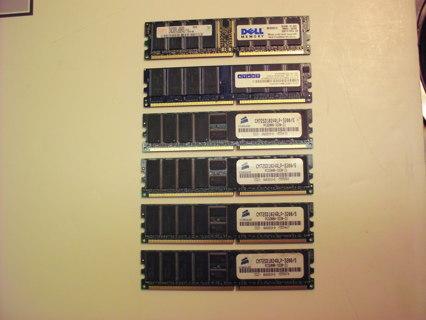6 Sticks DDR Desktop Memory 1GB Each