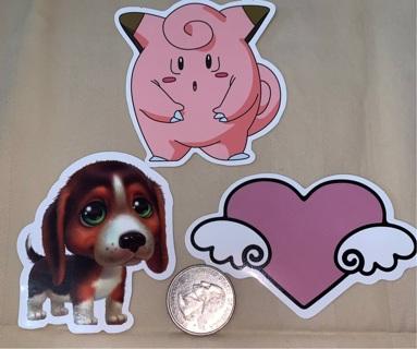 3 Cartoon laptop stickers