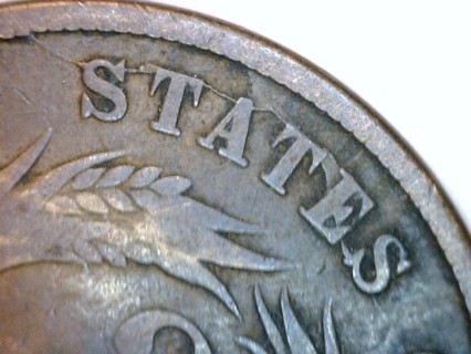 ★★★ RARE SEVERE LONG DIE CRACK 1865 2 Cent Reverse Die Crack Coin. ★★★