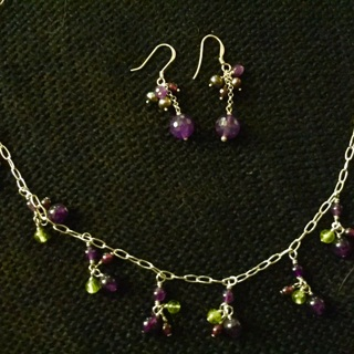 Lovely silver chain with amethyst beads, matching earrings