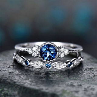 Round Cut Faux Sapphire Wedding Ring Set