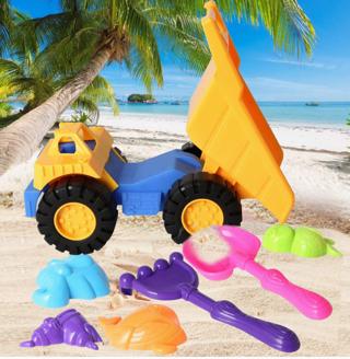 Beach Sand Toys Set -Truck Shovel Rake Animal Molds w/ Mesh Bag