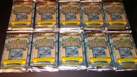 10 sealed packs 1992 upper deck series 2 holographically enhanced football cards