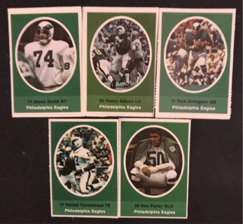 (5) Philadelphia Eagles 1972 Sunoco FB Stamps