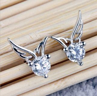 Silver Angel Wings Stud Earrings