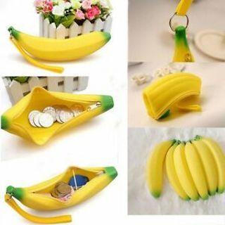 Wallet Portable Silicone Kawaii Purse Pencil Case Banana Pouch Bag