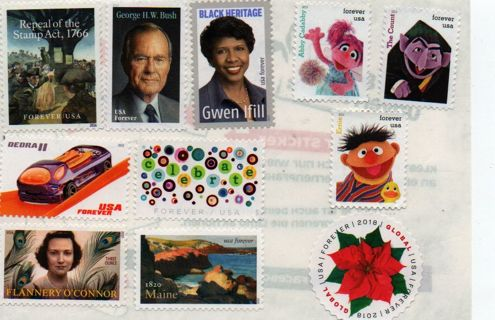uncanceled US Postage * 11 all different forever stamps * self-adhesive on foil BRO_S5