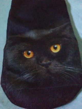 3D ankle socks Black cat beauty