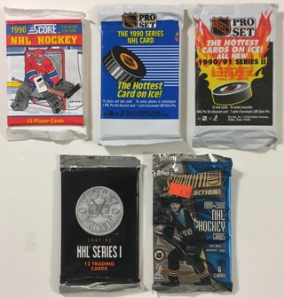 NHL Hockey Trading Cards - Score, Topps, Pro Set Lot of 5 NEW Factory Sealed Packs!
