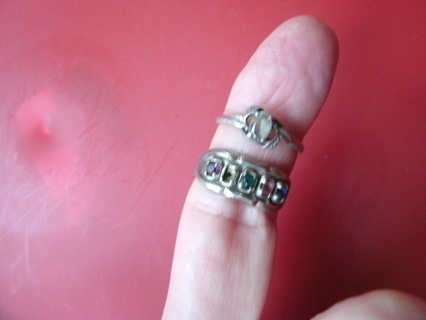 Pair of Silver Rings w/stones size 8