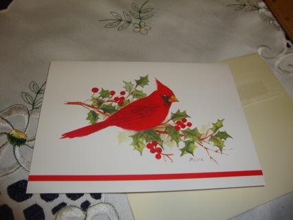 #14 Cardinal Bird on Holly twig Christmas Card ~ Free Shipping