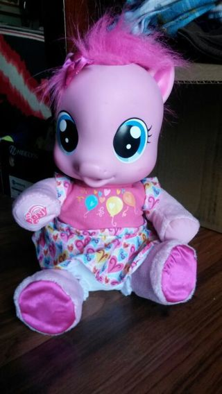 "2010 pinkie pie my little pony electronic baby 9"" doll - hasbro - bottle drinking, talking"