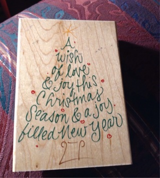 SCRIPT HOLIDAY TREE rubber stamp Christmas scrapbooking