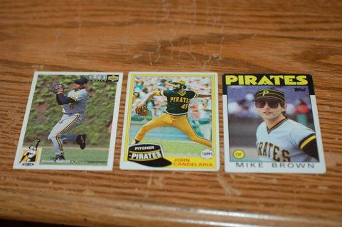 Set of 3 Mixed  Pittsburg Pirates baseball cards