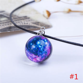Stars Short Glass Galaxy Pattern Necklaces Glass Ball Pendant Necklace Fine Gift