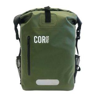 COR SURF Waterproof Dry Backpack w/ Laptop Sleeve - 25L Dark Green & Karpathic RFID Travel Pack