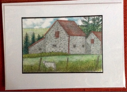 "SHINGLED BARN WITH SHEEP - 5 x 7"" art card by artist Nina Struthers - GIN ONLY"