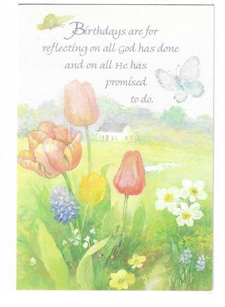 Birthday Card Unused With Envelope Tulips & Butterflies
