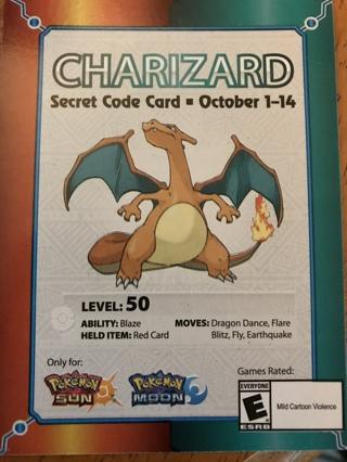 Charizard Pokemon Sun/Moon Code