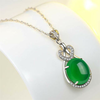 Diamond Silver Pendant Green Charming Gemstone