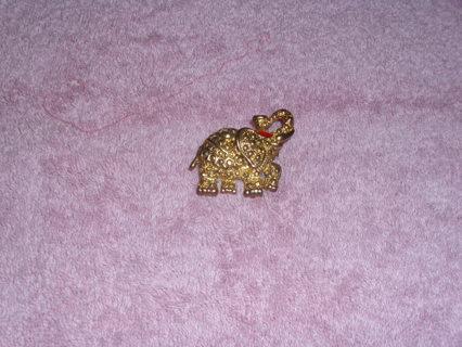 Gold tone Elephant Brooch Upward trunk pin