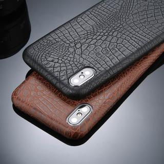 For Apple iPhone XS MAX XS XR X Luxury Slim Crocodile PU Leather Back Case Cover