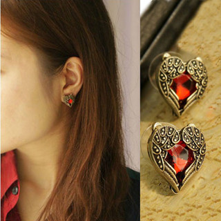 Vintage Style Ruby Red Angel Wings Earrings